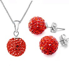 Hot Set of Shamballa jewelry Necklace Pendant Earring Stud 10mm  Orange bead Crystal stone Clay Ball for women wedding jewelry