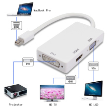 3-in-1 mini Displayport Thunderbolt to DVI VGA HDMI Converter Adapter cable for iMac Mac Mini MacBook Pro to Monitor TV