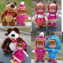 Promotion Masha and Bear Figure Toys Russian Dancing Walking Talking Singing Doll Birthday Gift Masha e Orso Bonecas Baby Alive(China)