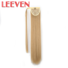 Leeven 24inch ponytail fake hair extensions false pony tail hair hairpieces clip in straight for women High Temperature Fiber