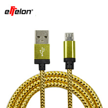 Effelon 1M/2M/3M/20CM Colorful Nylon Micro USB Cable Charger Data Sync USB Cable Cord For Android Smart Phone for tablet PC