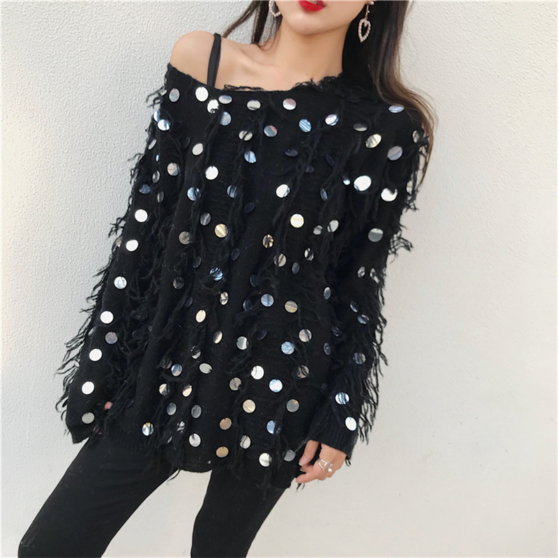 HziriP 2018 Spring Autumn Fashion Black Sweater Women Long Sleeve Tassel Sequined Loose Sexy Pattern Pullover Tops Knitted Girls