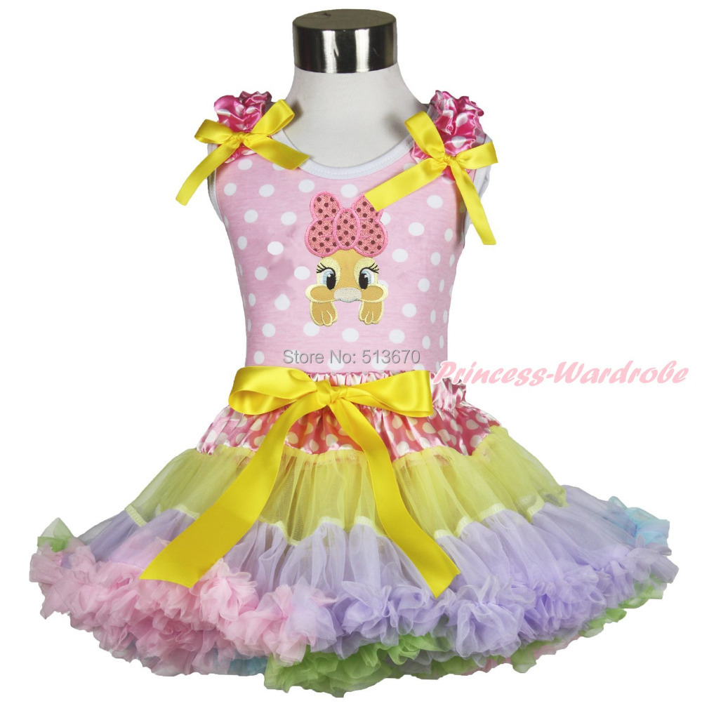 Easter Bow Bunny Pink White Dots Top Dot Waist Rainbow Girl Pettiskirt Set 1-8Y MAPSA0428<br>