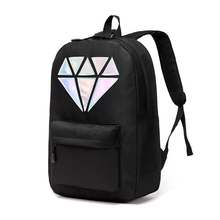 Women Canvas Backpack School Bags Holographic Silver Diamond Solid Teenage Girls Female Men Laptop Sale waterproof brand Mochila