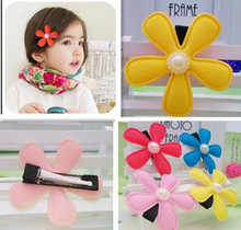 New 4 colors 5cm Floral Hairpins Cute Headwear Flower Clip Baby Hair Clips Children Hair Accessories Girls Floral Hair Clip