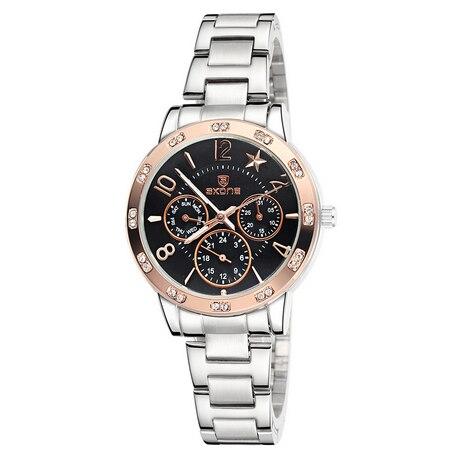2017 Fashion New SKONE Luxury Brand Full Steel Watches Women Real 3 Eye Luminous Fashion Quartz  Watches Female casual watches<br><br>Aliexpress