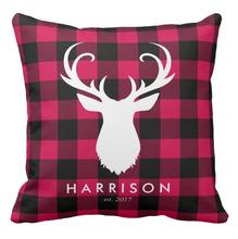 Nordic Black Red Plaid Deer Throw Pillow Case Personalised Stag Cushion Cover Unique Custom Christmas Xmas Home Decor Gifts 18""