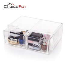 CHOICE FUN 2 Layer Big Size Multi-function Plastic Storage Cabinet With Drawer Transparent Jewelry Storage Box Cabinet SF-2179-5(China)
