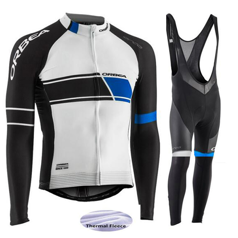 Winter Thermal Fleece Orbea Cycling Set Long Sleeve Bicycle Jersey Ropa Ciclismo Bicycle MTB Bike Cycling Clothing 9D Gel Pad<br>