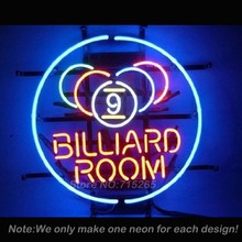 9 Ball Billiards Pool Room Neon Light Sign Real Glass Tube Neon Bulbs Recreation Room Garage Sign Neon Sign Store Display 20x20(China)