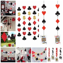 Casino String Decoration Las Vegas Themed Party Night Card Dangling Cutouts Playing Card Suite Symbols Garland Casino Backdrop