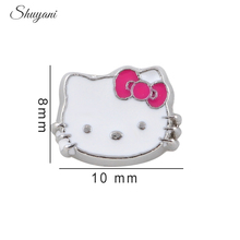 20pcs/lot Newest Zinc Alloy Charms White Enamel Cat Hello Kitty Floating Locket Charms for Living Photo Glass Locket