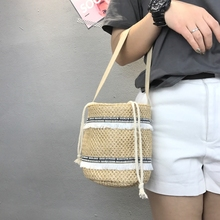 Beach bag straw totes bag bucket summer bags with tassels women handbag braided 2017 new arrivals spring summer high quality 327