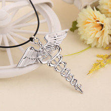 """Percy Jackson""  Angle Wings Magic Wand Caduceus Pendant Necklace Jewelry for Men and Women free shipping"