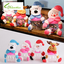 Christmas Candy Cans Santa Claus Snowman Elk Bear Decoration Children Ornaments Christmas Plastic Cloth Gift Bag Kids Candy Jar(China)