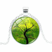 XUSHUI XJ Fashion Life Tree Pendant Necklace Vintage Silver Color Chain Necklace Women Jewelry Classic Glass Cabochon Necklace