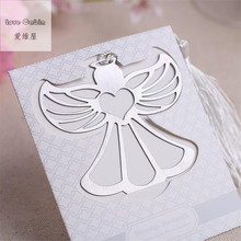 Angel Silver Metal Bookmark Boxed For baptism Baby Bridal Shower Christening Wedding Favours Bomboniere 60pcs Home Party Favor(China)