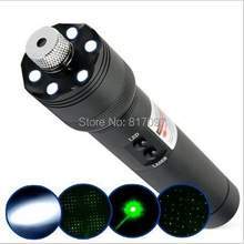 2in1 Multi-function Laser flashlight Torch 532nm Green visible Beam Laser twinking laser pointer+ LED LED Flashlights