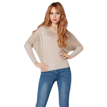 Spring Autumn Fashion Women Sweater Thin Knitting Cotton Long Batwing Sleeve O-Neck Crochet Pullover Casual Modern Loose 2 Color