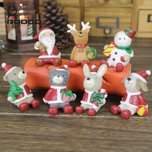 ROOGO Hot Sale 3D Cartoon Animals Figures Gift Resin Christmas Toys Nativity Figurines decoration Best Christmas Gifts For Kids(China)