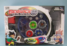 Free shipping! Classic toys beyblade metal fusion spinning top gyroscope 4 beyblade for sale alloy gyro plate kit beyblade sets(China)