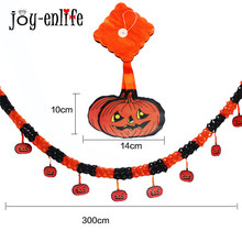 JOY-ENLIFE  Paper Chain Garland Decorations Hanging Pumpkin Flower Shape Halloween Party Decor Outdoor Paper Pull Flower Banner