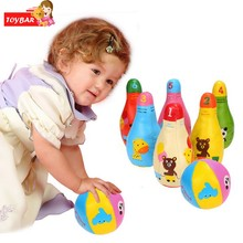 Baby Kids Classic Toys Outdoor Sport Mini Synthetic 6 Pins Bowling Sets With 2 Balls Bowling Game Infant Pretend Toys(China)