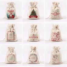 1pcs Santa Claus Gift Bag Drawstring Canvas Christmas Candy Bag Santa Sack Rustic Bauble Toys Organizer Festive Party Supplies