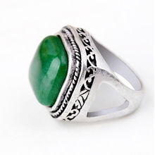 Personality Square Shaped Green Jade Antique Sliver Plated Retro Vintage Ring CN