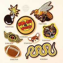 8pcs/lot Bomb Rugby Chihuahua Snake Cartoon Personality Cloth Badge Patch Jeans Jackets Bag Shoes Clothes Decoration Applique
