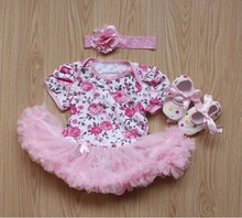2017 3pcs Rose Flower Newborn Baby Lace Rompers Baby Girls Dress Jumpsuit Outfits Clothes Babe clothing sets