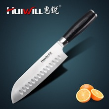 "HUIWILL brand 7""Japanese AUS 8 stainless steel Santoku Knife Chef kitchen knives utility knife kitchenwares(China)"