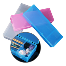 1Pc 2-Compartments Nail Brush Container Clear Practice Tool Manicure Nail Art Glitter Polish Storage Box 4 Colors