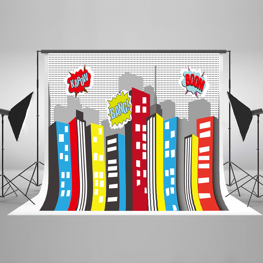 Children Photography Background Bomb City Birthday Superhero Backdrop High Building With Cloud Newborn Baby for Studio Kate <br>