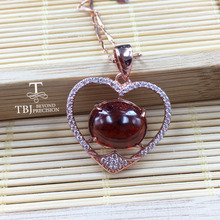 TBJ, 100% Natural spessartine Garnet fenda good color gemstone Heart pendant in 925 sterling silver fine jewelry with gift box(China)