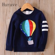 Hurave Baby Girls Sweaters 2017 Brand Children Autumn Sweater For Toddler Balloon Printing Long Sleeve Kids Winter clothing