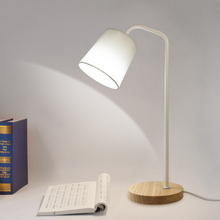 SUNLI HOUSE Modern Metal Simple Desk Lamp E27 Wood base Adjustable Table Light Fabric Retro style Reading lamps for Living Room(China)