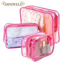 DINIWELL 3x Waterproof  PVC Travel Zipper Storage Bags Towel Makeup Pouch For cosmetics Underwear Organizer