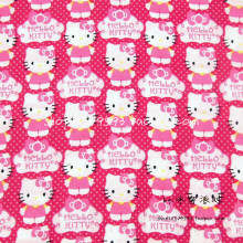 105X100cm Hot Pink Background Polka Dot Hello Kitty Cotton Fabric for Baby Girl Dress Bedding Set Sewing Patchwork DIY-AFCK106