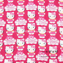105X100cm Hot Pink Background Polka Dot Hello Kitty Cotton Fabric for Baby Girl Dress Bedding Set Sewing Patchwork DIY-AFCK106(China)