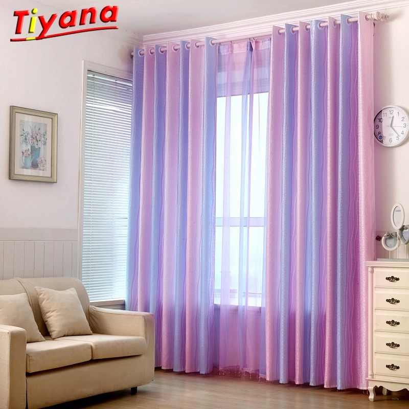 Purple Gradient Striped Tulle Tiyana Window Curtain for The Bedroom Blackout Curtains Living Room Kitchen Panels WP149*40