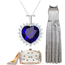 LNRRABC 1PC Hot Fashion Trendy Charming Blue Heart Pendant Long Chain Women Lady Girl Ocean Heart Necklace
