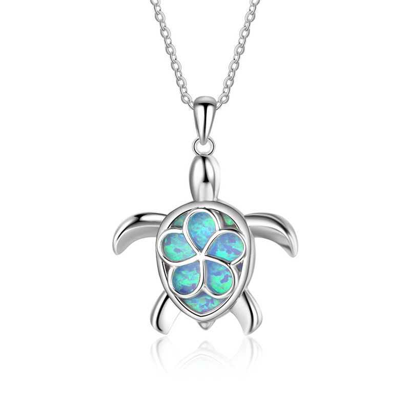 Fashion Silver Filled Blue Imitati Opal Sea Turtle Pendant Necklace for Women Female Animal Wedding Ocean Beach Jewelry Gift 12