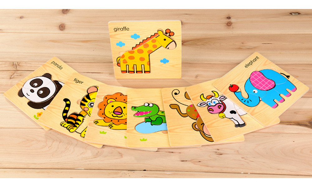 8pcs children learn wooden puzzle baby children children building wood puzzle early education puzzle three-dimensional fight toy 11