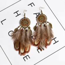 2017 Sunflower Drip Hollow Feathers Tassel Earrings Big Bohemian Wind Retro Earrings Fashion Foreign Trade(China)