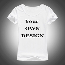 Your Own Brand Logo/Picture White Tops Custom t-shirt Asian Size T Shirt Women Clothing(China)