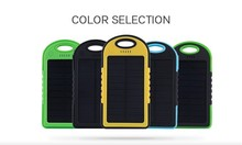 New Real 5000MAH Waterproof Solar Power Bank Portable Charger External Battery for iPhone HTC samsung