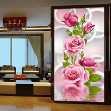 30*56cm Needlework 5D Diy Diamond Painting Cross Stitch Pink Rose Diamond Embroidery Flower Vertical Print Rubik's Cube Drill