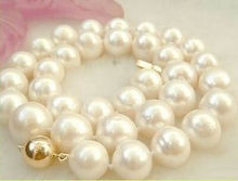 "very good NOBLEST AAA SOUTH SEA 13-14MM WHITE PEARL NECKLACE 18"" marked Wholesale Silver bridal Woman's Jewellery (A0423) -T"