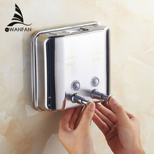 1500ml 304 Stainless Steel Kitchen Sink Soap Dispenser Kitchen Touch Soap Dispenser Square Bathroom Kitchen Dispenser WF-18021